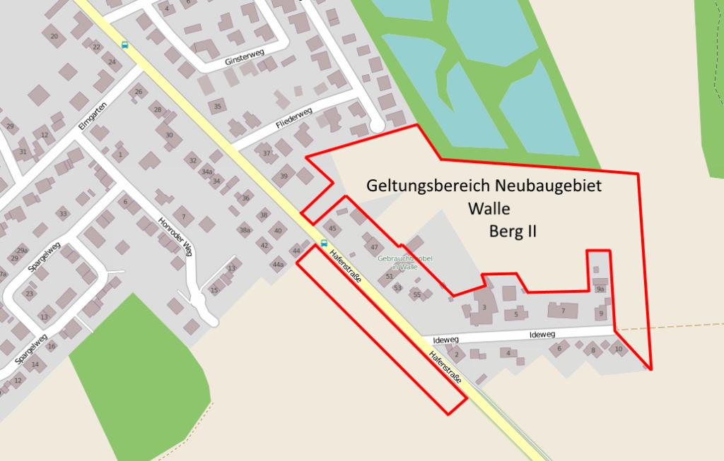 Geltungsbereich Neubaugebiet Walle-Berg II (Quelle: OpenStreetMap / Grafik: Felix Schäfer)